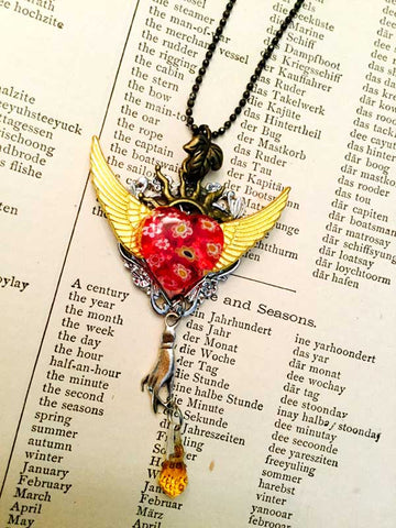 Millefiori Red Flying Heart Necklace