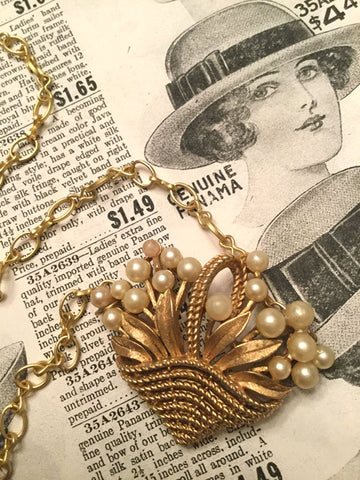 Vintage Gold Basket Necklace with Leaves and Pearls