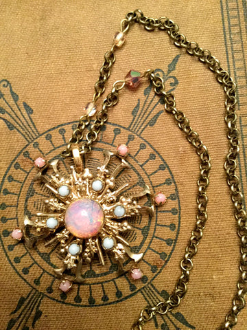 Vintage Pink and Gold Snowflake Necklace