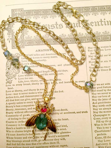 Vintage Rhinestone Insect Necklace