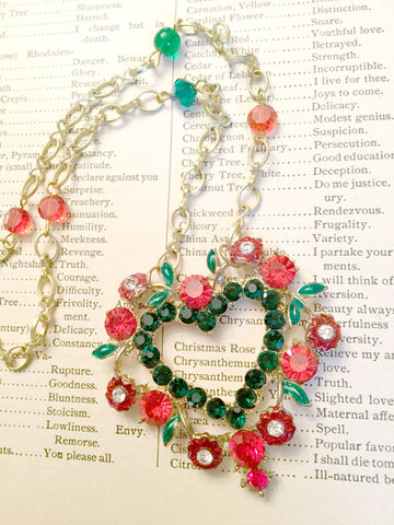 Christmas Hearts and Flowers Necklace