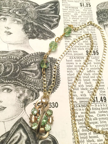 Vintage Green and Gold Swirl Necklace