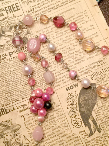 Pink Cluster Beaded Necklace