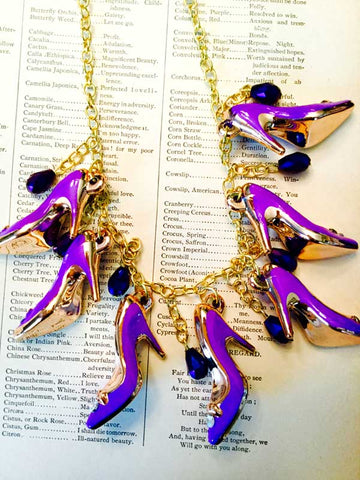 Purple High Heels Necklace