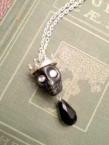 Skull Necklace - large black  skull with silver crown