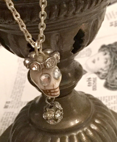 Skull Necklace - small white skull with crown