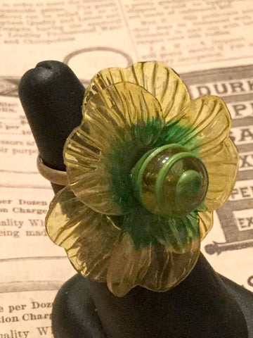 Yellow and Green Lucite Flower Ring