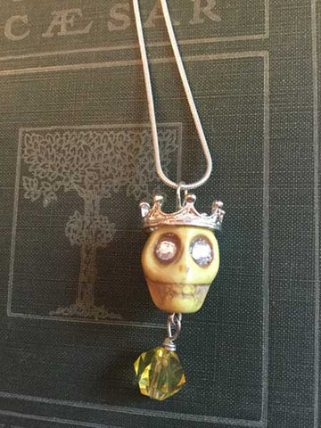 Skull Necklace - large yellow skull with silver crown