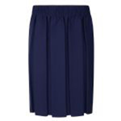 Higham St Navy Box Pleated Skirt Fully Elasticated