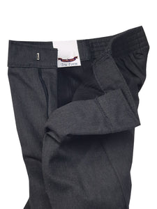 Boys Grey Junior Slim Fit Trousers Half Elasticated