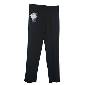 2 Button Girls Trouser Black Half Elasticated