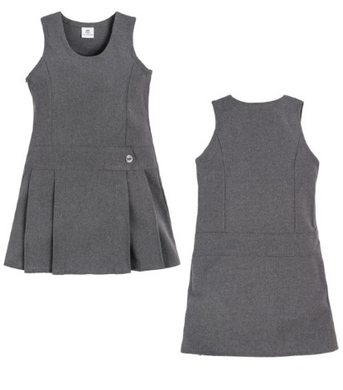 Grey One Button Pinafore Dress