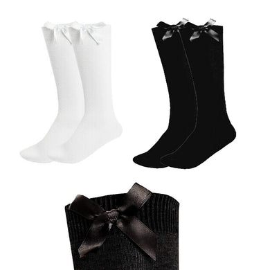 Knee High Bow Socks Girls Black & White
