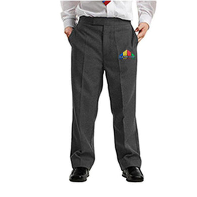 Boys Grey Sturdy Fit Trouser Half Elasticated With Colne Primet Academy Official School Logo