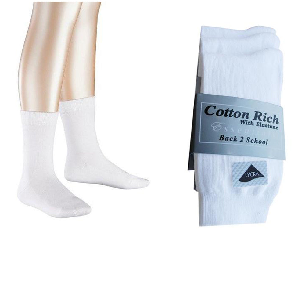 3 Pairs PE Sports Socks Cotton Rich White