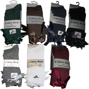 3 Pairs Girls Dress Ankle Socks with Bow