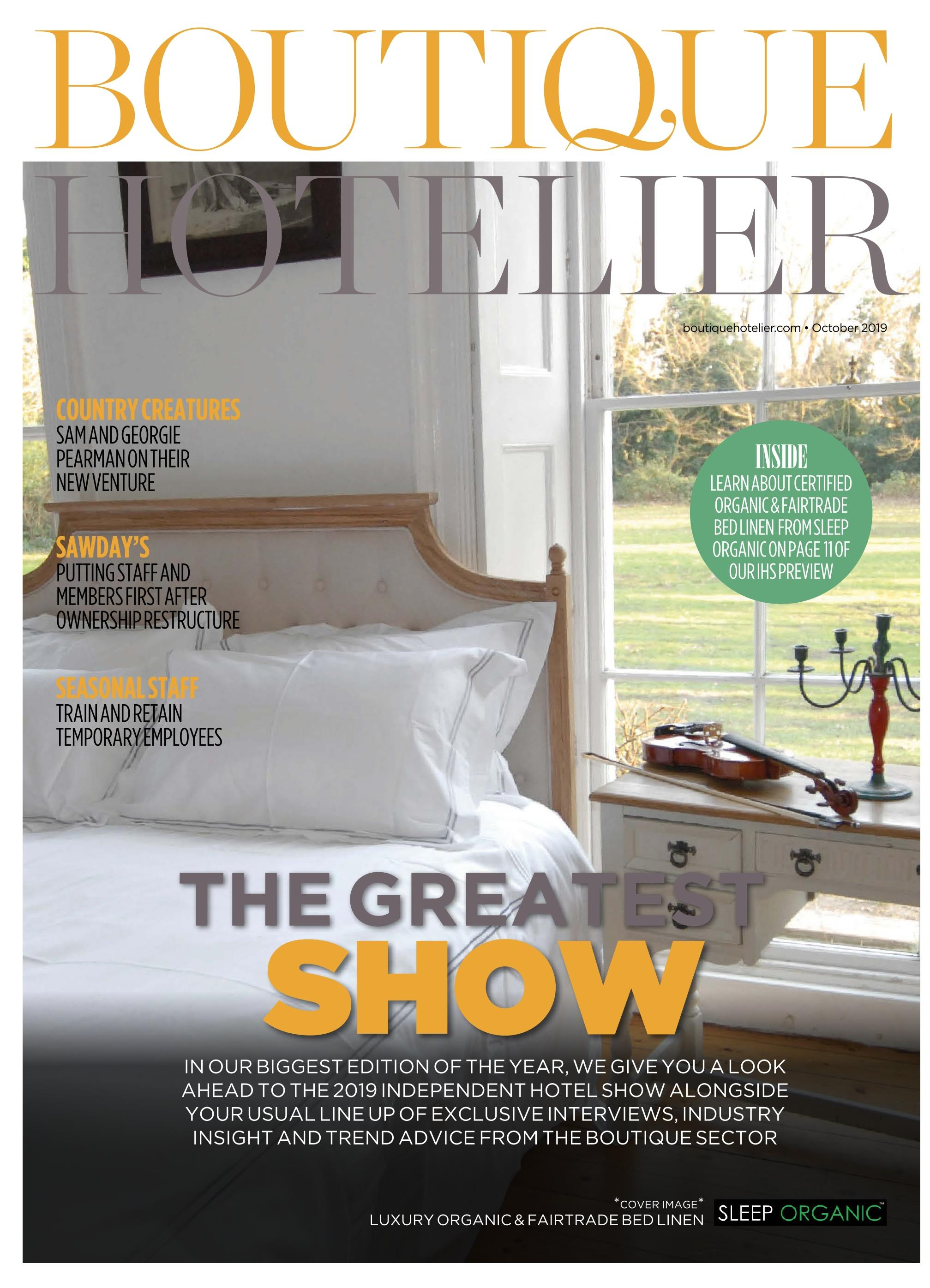 Boutique Hotelier Sleep organic Cover October 20019