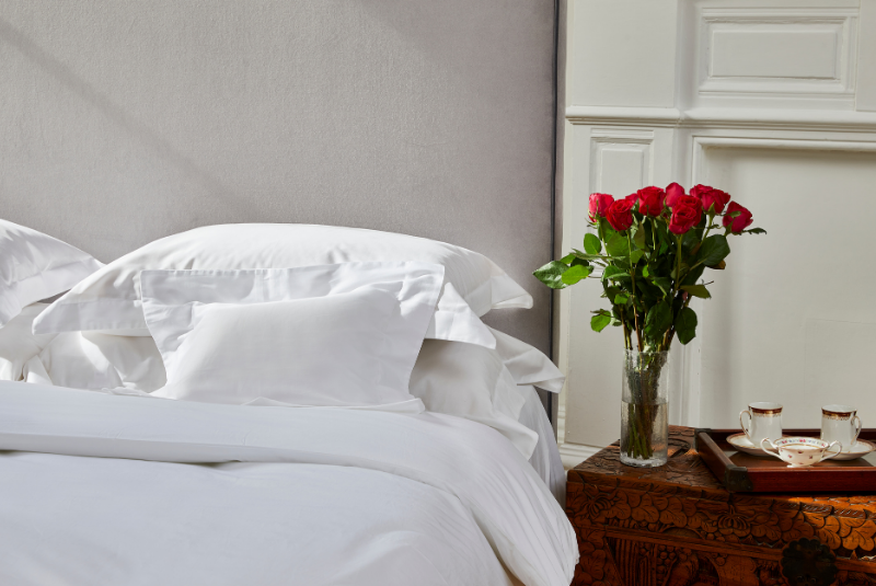 Organic cotton bed linen for Valentine's Day present, ethical present for Valentine's Day