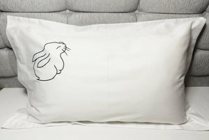 bunny organic pillowcase; ethical gift, white organic pillowcase