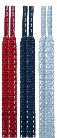 10 Seconds Classics 3Pairs Pk Reflective Shoelaces - Red/Navy/Grey