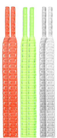 10 Seconds Classics 3Pairs Pk Reflective Shoelaces - HotRed/NeonYellow/White