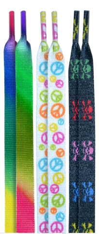 10 Seconds Classics 3Pairs Pk Printed Shoelaces - Tie-Dye/Peace/MultiSkull