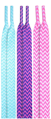 10 Seconds Classics 3Pairs Pk Printed Shoelaces - Chevron Pack