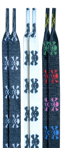 10 Seconds Classics 3Pairs Pk Printed Shoelaces - Black/White/Multi/Skulls