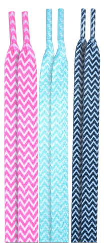 10 Seconds Classics 3Pairs Pk Printed Shoelaces - Pink/Teal/Black Chevrons