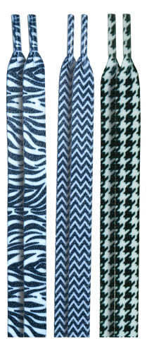 10 Seconds Classics 3Pairs Pk Printed Shoelaces - Zebra/Chevron/Herringbone