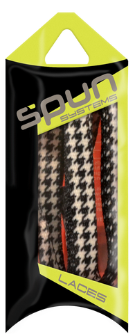 "Spun™ 3/8"" Printed ShoeLaces - Black & White Houndstooth"