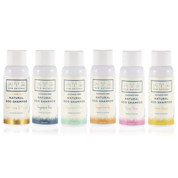 Paw Naturel Mini Trial Pack of 6 Natural Dog Shampoo samples
