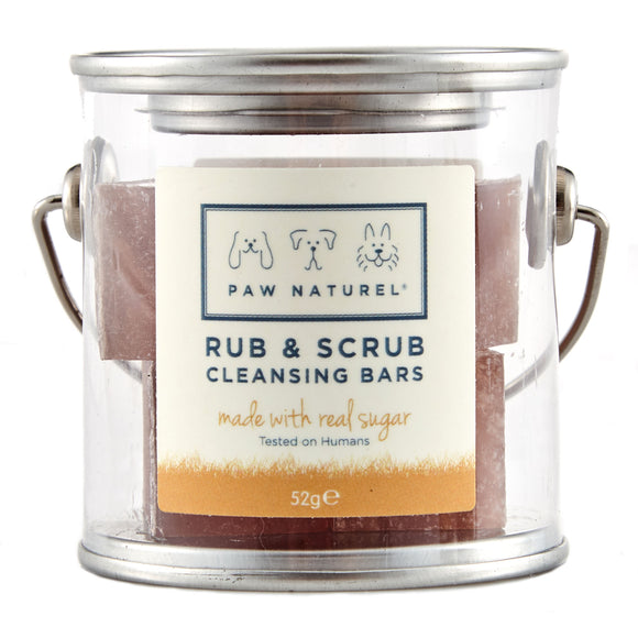Rub and scrub cleansing bar with real sugar