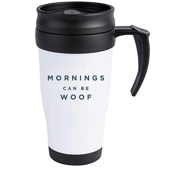 Mornings Can Be Woof Paw Naturel Travel Mug