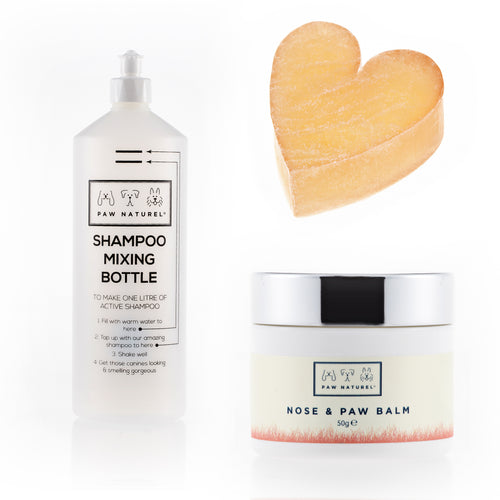 Rub & Scrub Heart shaped scrub & Mixing Bottle + Paw & Nose Balm package - Paw Naturel