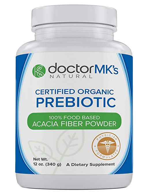 Organic Prebiotic Powder by Doctor MK's® - Unflavored, Prebiotics Acacia Fiber Supplement Promotes Good Bacteria, Digestion, IBS, Weight Loss, 12 oz (340g)
