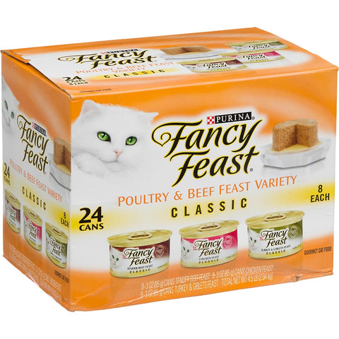 Fancy Feast Classic Poultry and Beef Feast Variety Pack Canned Cat Food