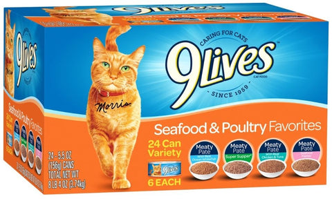 9 Lives Seafood and Poultry Favorites Variety Pack Canned Cat Food