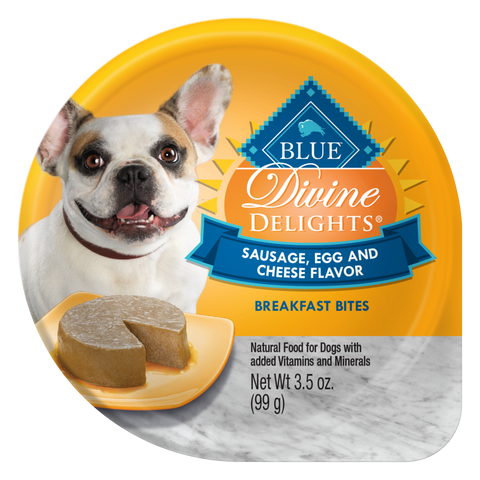 Blue Buffalo Divine Delights Small Breed Sausage, Egg and Cheese Breakfast Bites Pate Dog Food Cup