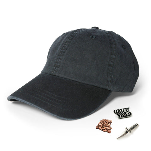 Washed Black Hat & Pins