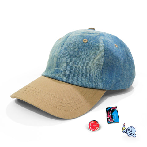 Denim/Khaki Hat & Pins