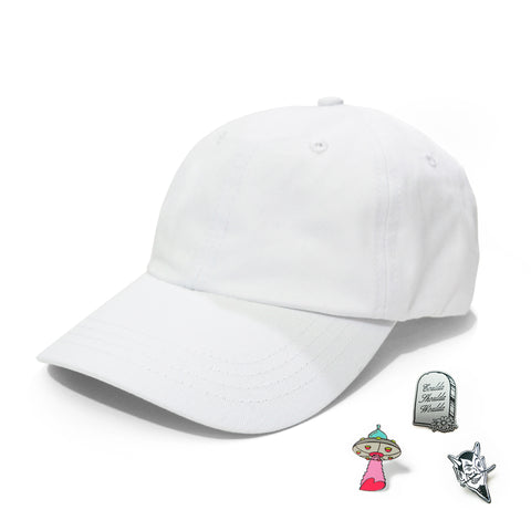 Marble White Hat & Pins