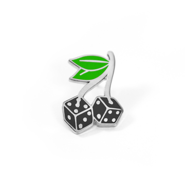 Silver Cherry Dice Pin