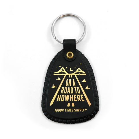 Black Road to Nowhere Saddle Keychain