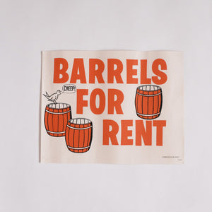 "Vintage ""Barrels For Rent"" Casino Poster"