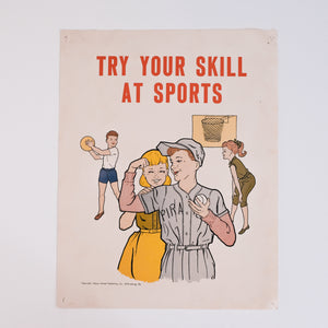 "Vintage Classroom Print - ""Try Your Skill At Sports"""