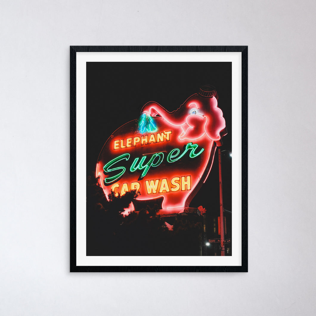 Elephant Car Wash Neon Print