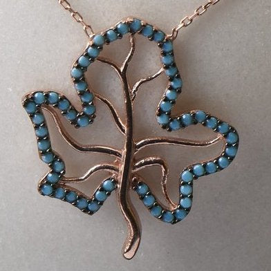 Turquoise Blue Leaf Charm Sterling Silver Gold Necklace
