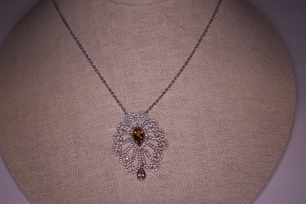 Handmade Honey Yellow Queen Crown Sterling Silver Silver Color Necklace