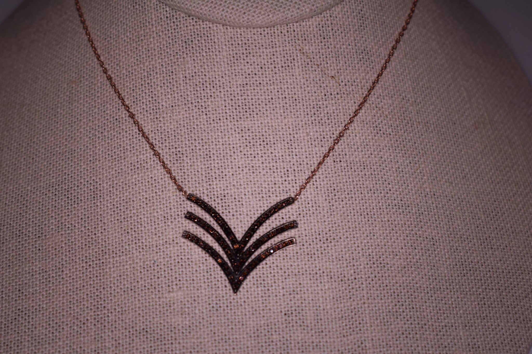 Handmade Brown Triple Wave Sterling Silver Rose Gold Color Necklace
